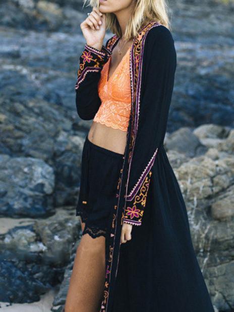 Retro Inwrought Floral-Print Bohemia Beach Long Cardigan Tops