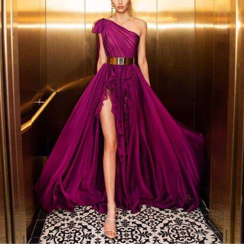 Fashion One-Shoulder Slit Big   Swing Belt Dress