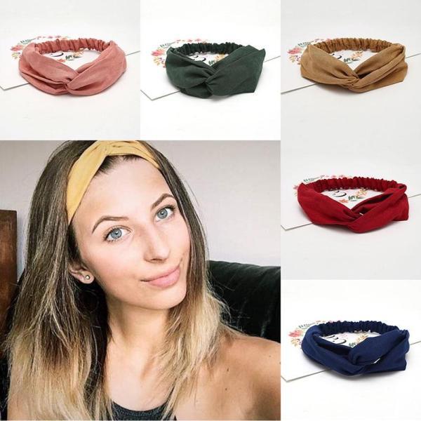 Women Summer Autumn Suede Headband Vintage Cross Knot Elastic Hair Bands Soft Solid Girls Hairband Hair Accessories