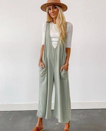 EBUYTIDE Casual Sleeveless Plain Pocket Jumpsuit