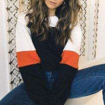 Fashion Contrast Round Neck Long Sleeve Sweatshirt