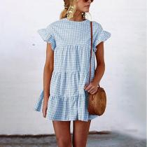 Grid Pattern Casual Short Sleeves Mini Dresses