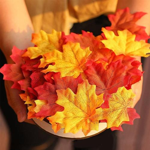 Top Sale 100Pcs Artificial Silk Maple Leaves Garland Silk Autumn Fall Leaf for Wedding Garden Decoration Orange/Green/Yellow