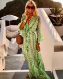V-Neck 3/4 Sleeve Printed Maxi Vacation Dress