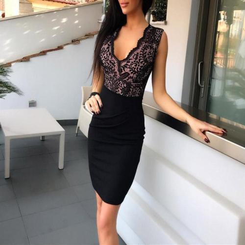 Fashion Sexy Deep V Lace Stitching Dress