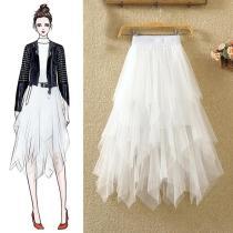 Tulle Skirts Womens Faldas Mujer Moda 2020 Fashion Elastic High Waist Mesh Tutu Maxi Pleated Long Midi Saias Jupe Women's Skirt