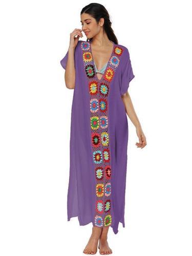 Deep V-neck Embroidered Split-joint Beach Maxi Dresses