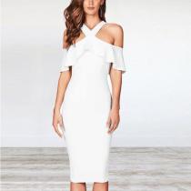 Ruffled Halter Plain Bodycon Dress