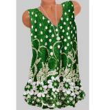 Women Fashion Floral Polka Dot Printed V Neck Sleeveless Vest T-shirt Tops