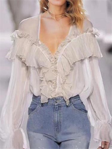 Elegant Lantern Sleeve Pleated Ruffle See Through Shirt