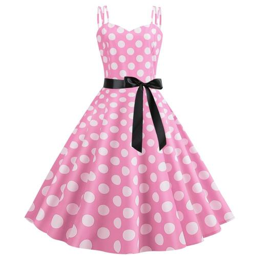Women Polka Dot Vintage Dress Summer 2020 Big Swing Retro Robe Prom Rockabilly Party Dress Sexy Halter Pinup Vestidos