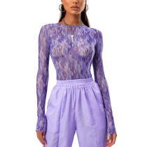 Sexy Women T Shirt See Through Transparent Mesh Tops Long Sleeve Sheer Slim Ladies Turtleneck T-Shirt New Arrival Women tshirt