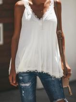 Casual Sexy Lace Splicing V Neck Pure Color Vest Blouse