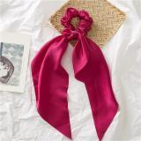 EBUYTIDE Big Flower Print Ribbon Ponytail Scarf Elastic Hair Rope for Women Hair Bow Ties Scrunchies Hair Bands Hair Accessories