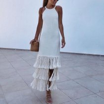 Sexy White Sleeveless Tassel Maxi Dress