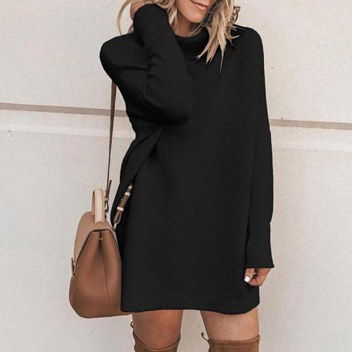 EBUYTIDE Turtleneck Long Sleeve Sweater Dress Women Autumn Winter Loose Tunic Knitted Casual Clothes Solid Dresses 4 Colors