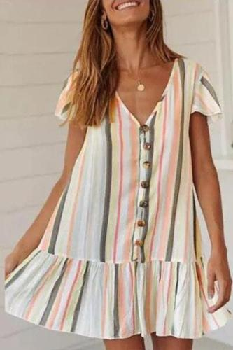 Sexy V-Neck Striped Short Sleeve Dress