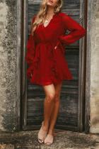 Fashion Casual Mini   Dress With Irregular Flouncing Round Collar