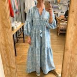 Boho Print Puff Sleeve V-Neck Maxi Dress
