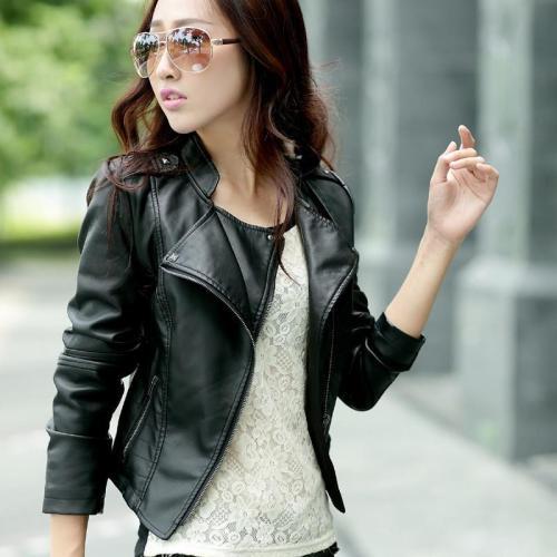 Shoulder Strap Zipper Pockets Lapel Crop Jacket