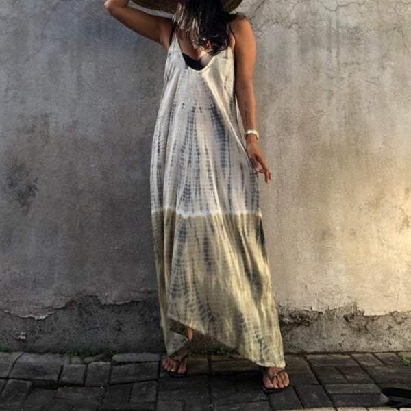 Spaghetti Straps Sleeveless Beach Maxi Dress
