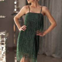 Sexy Horizontal Neck Fringe Lace Bodycon Dress