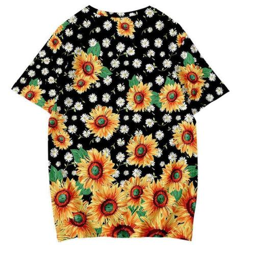 Sunflower Printed Women Loose Short Sleeve Casual T-shirt Tops