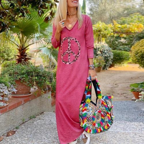 Casual V-neck Printed Long Sleeve Maxi Dress