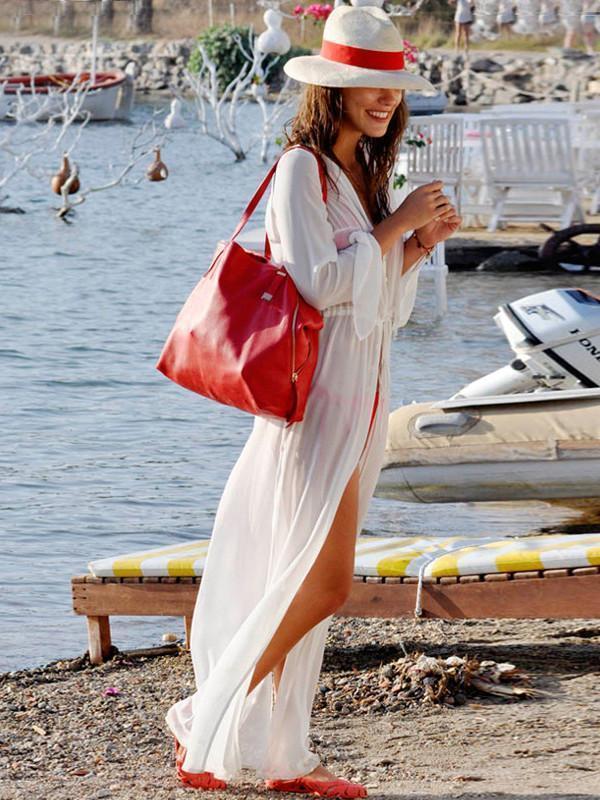 Sexy White Long Sleeve Chiffon Maxi Beach Dress Cover-up