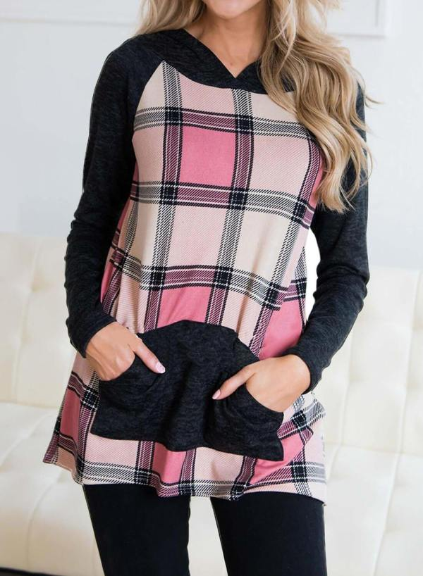 Color Block Plaid Hoodies