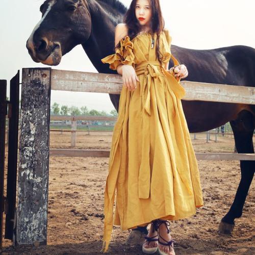 Boho Gypsy Linen Maxi Dress