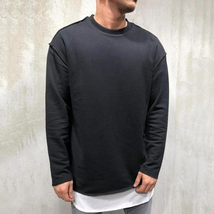 Fashion Round Neck Long Sleeve Solid Color Fray Sweatshirts