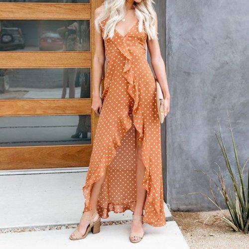 Fashion Sexy Split Ruffled Sling   Polka Dot Dress