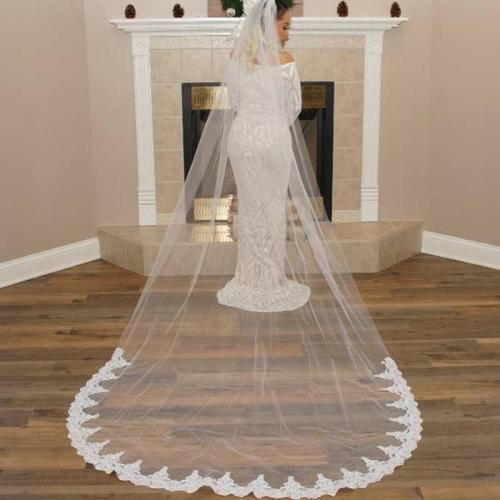 Simple 3 M Length Bridal Veil Lace Edge Long Cathedral Tulle Wedding Veil With Comb Wedding Accessories