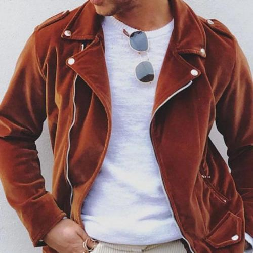 Men's fashion casual solid color zipper jacket