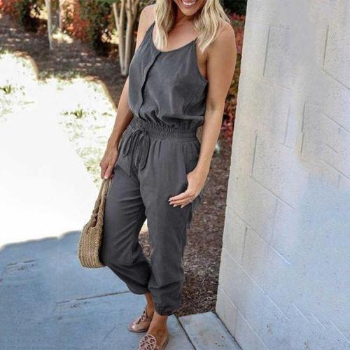 EBUYTIDE Simple Grey Slim Fit Sling Jumpsuit