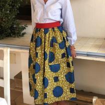 Womens Commuting Printed Pockets Loose Skirt RY58