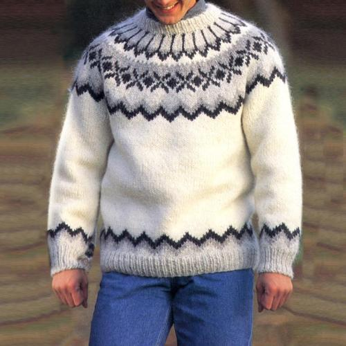 White Couple Icelandic Knit Sweater TT004