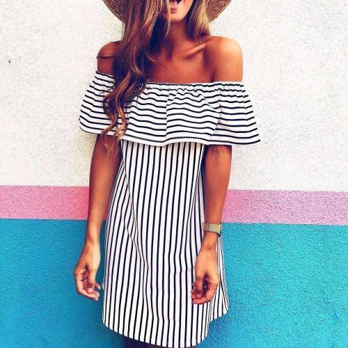 Sexy Off Shoulder Short Sleeve Stripe Printed Loose Mini Dress