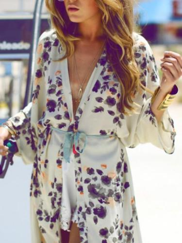 Chiffon Fashion Floral Printed Cover-up Outwear