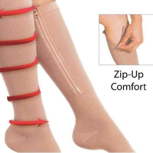 Zipped Open Toe Compression Socks