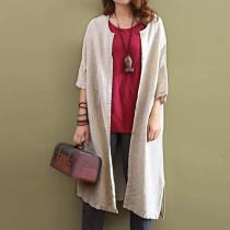 Cotton Linen Beige Cardigan