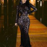 Fashion Round Neck Sequin Evening Dress