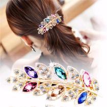 1 Pc Beautiful Women Fashion Hair Clip Pink Leaf Crystal Rhinestone Barrette Hairpin Headband for Women Hair Accessories