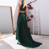 Sleeveless Slim Top + Sweet Half-Length Dress