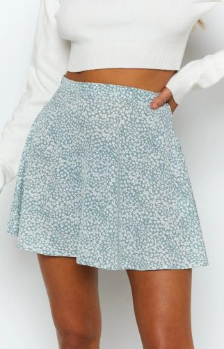 Women's Skirts Flared Mini Skirt Blue Floral  women's summer skirt womens high waist skirt falda jupe skirts womens