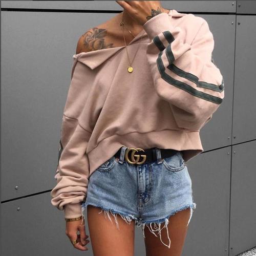 Sexy Plain Vneck Line Off Shoulder Long Sleeve Sweater