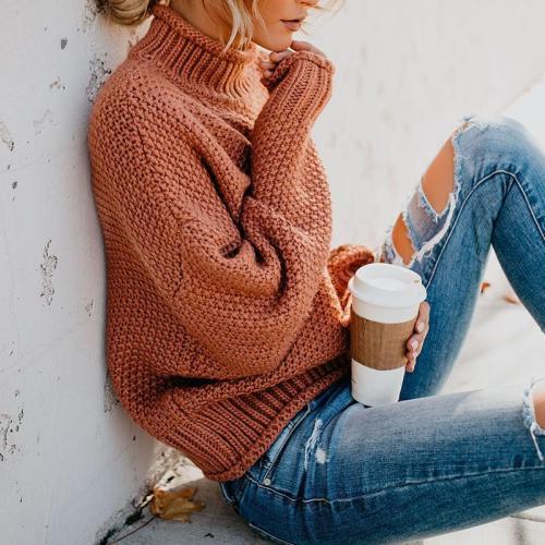 Fashion High Collar Pure Colour Loose Sweater
