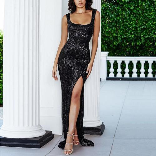 Sexy Sling Solid Color Sequined High-Sleeve Skinny Dress
