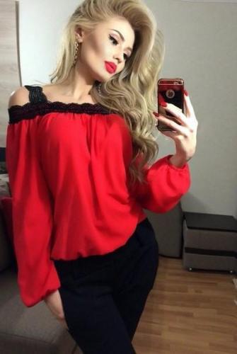 Lace Edges Patchwork Off-shoulder Chiffon Sexy Blouse